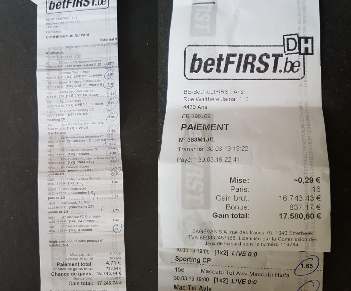 betting slip gagnant