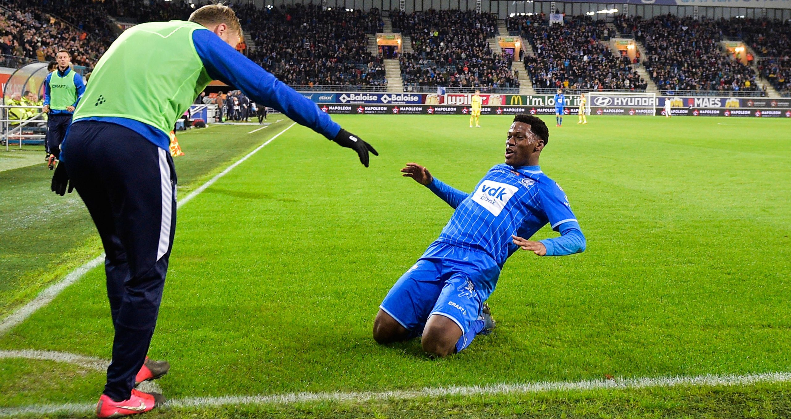 AA Gent's Jonathan David scores another Jupiler League goal against STVV
