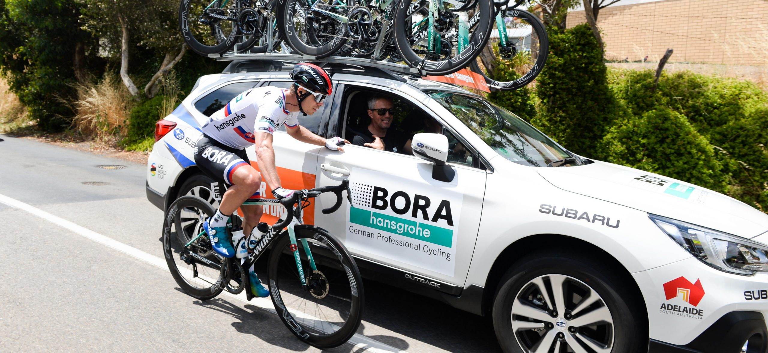 Bora-Hansgrohe's Peter Sagan talking with his team during the Tour Down Under