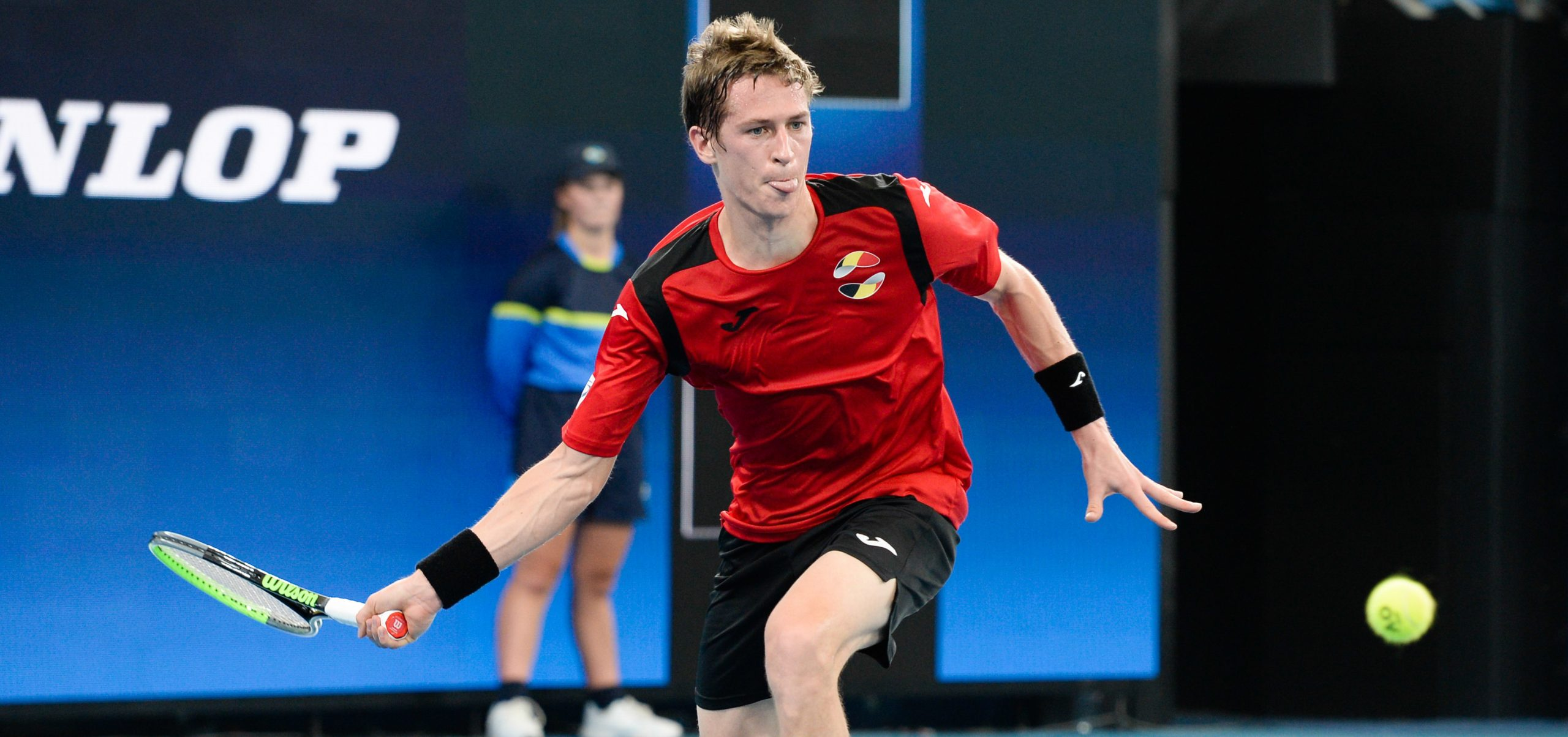 Belgian tennis player Kimmer Coppejans playing for his country in the Davis Cup