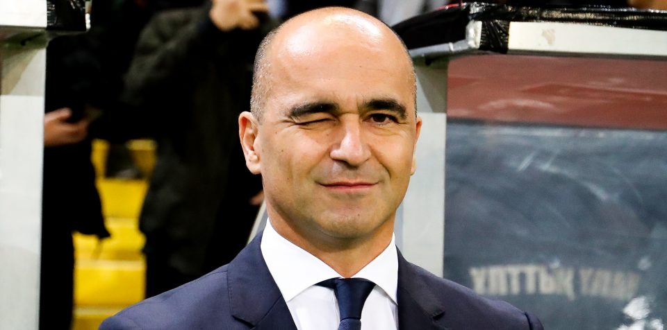 Belgium's head coach Roberto Martinez winking at the press during a Euro 2020 Qualifying game