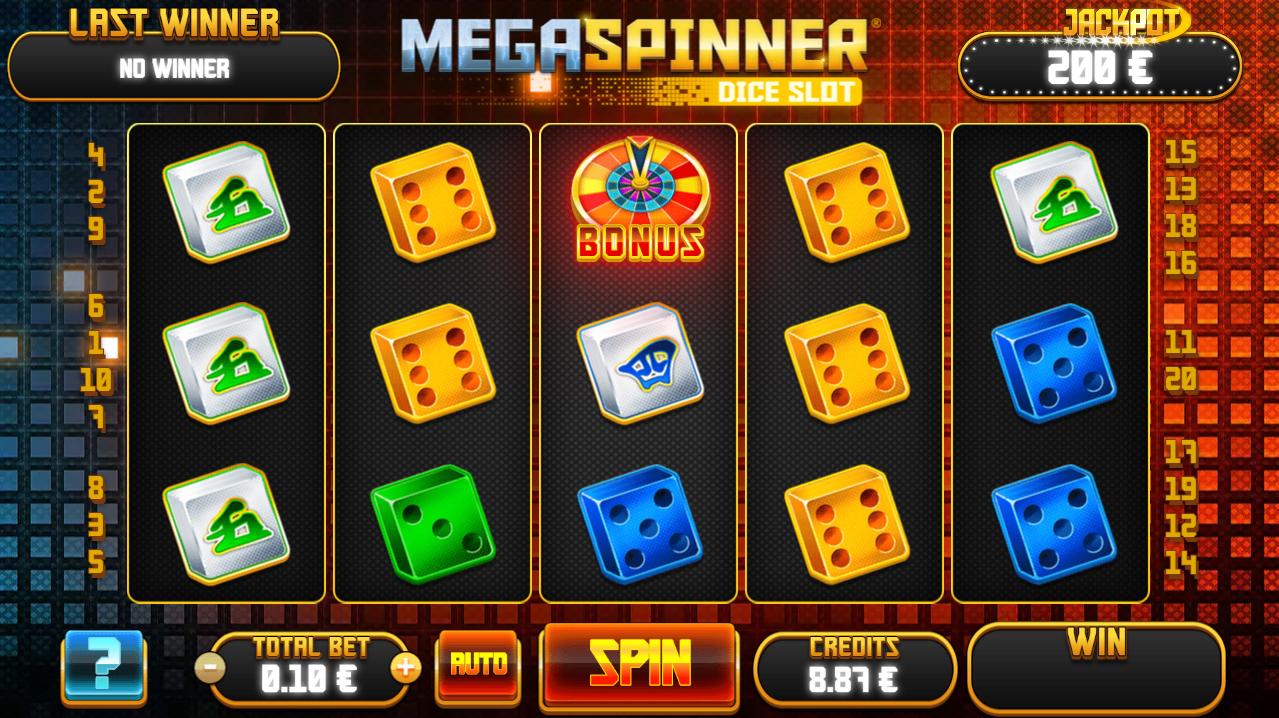 Mega Spinner Dice Slot - Interface