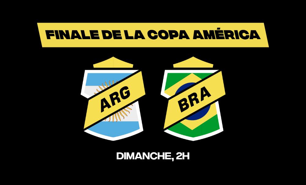 Le Brésil et l'Argentine s'affrontent en finale de la Copa América dimanche soir.Placez vos paris sur ce match en direct sur betFIRST !