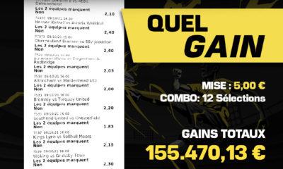 Un parieur betFIRST n'en croyait pas ses yeux le week-end dernier ! Avec une mise de 5 euros, il a gagné la somme incroyable de 155k€ .